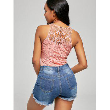 Ribbed Lace Trim Sleeveless Bodysuit - PINK S