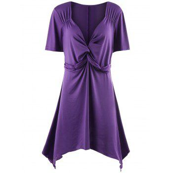 Twist Front Plunging Neck Plus Size Tunic Top