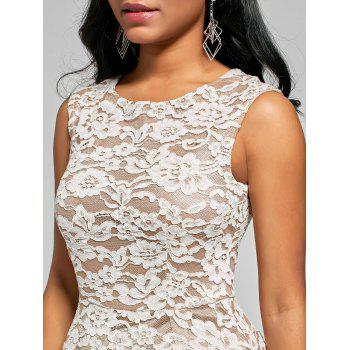 High Low Floral Crochet A Line Dress - WHITE L