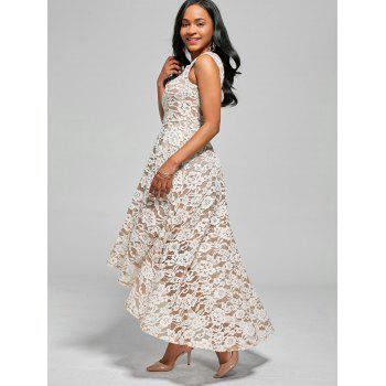 High Low Floral Crochet A Line Dress - WHITE WHITE