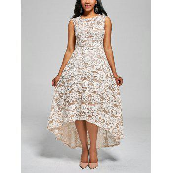 High Low Floral Crochet A Line Dress - WHITE 2XL