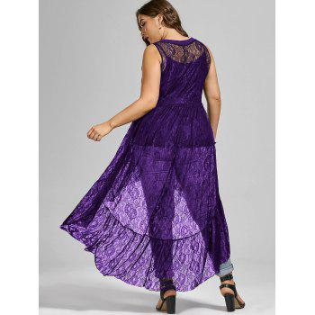High Low See Through Lace Plus Size Top - PURPLE PURPLE