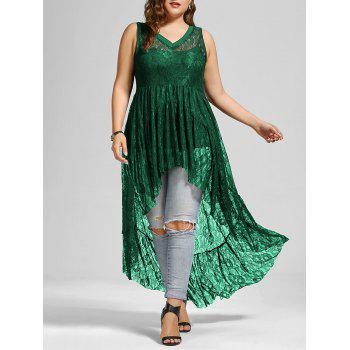 High Low See Through Lace Plus Size Top