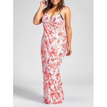 Star Print Plus Size Wrap Cover Up Maxi Dress - RED 5XL