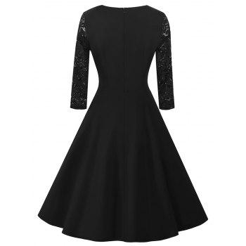 Vintage Lace Panel Dress - BLACK S