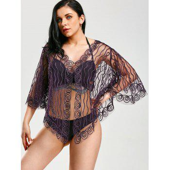 Beach Rope Embellished Sheer Lace Cover Up - PURPLE PURPLE