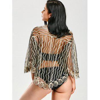 Beach Rope Embellished Sheer Lace Cover Up - LIGHT GOLD ONE SIZE