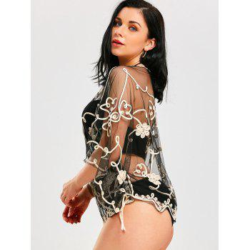 Wave Cut Retro Beach Lace Cover Up - Or Champagne / Noir ONE SIZE