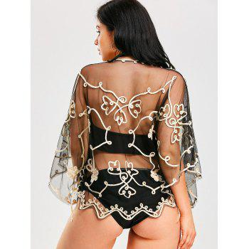 Wave Cut Retro Beach Lace Cover Up - CHAMPAGNE GOLD / BLACK  ONE SIZE