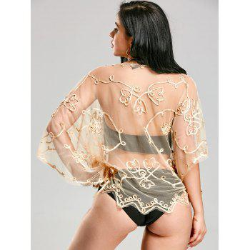 Wave Cut Retro Beach Lace Cover Up - ONE SIZE ONE SIZE