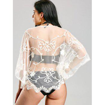 Wave Cut Retro Beach Lace Cover Up - WHITE ONE SIZE