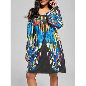 Feather Print Cold Shoulder Mini Dress
