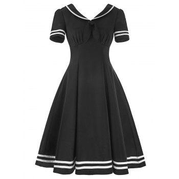 Vintage Sailor Collar High Waist Dress