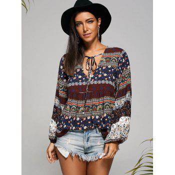Empire Waisted Plunging Long Sleeve Smock Blouse - COLORMIX M