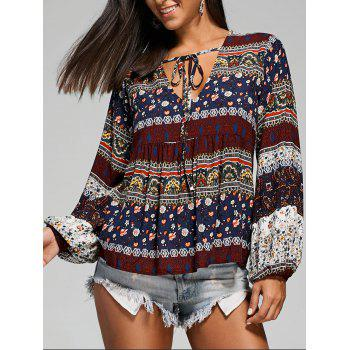Empire Waisted Plunging Long Sleeve Smock Blouse
