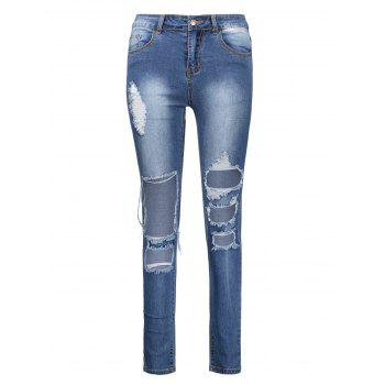 HighWaisted Ankle Length Skinny Ripped Jeans - DEEP BLUE 2XL