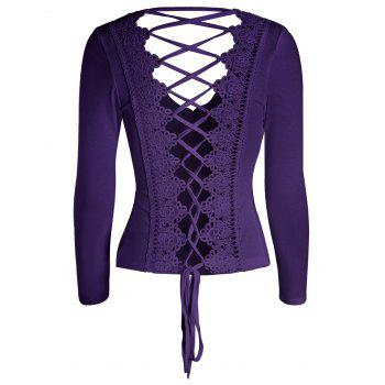 Criss Cross Long Sleeve Lace Back T-Shirt