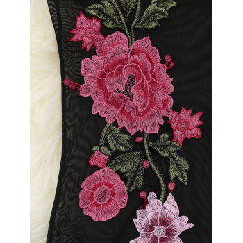 Floral Embroidered Mesh See-Through Teddy - BLACK M