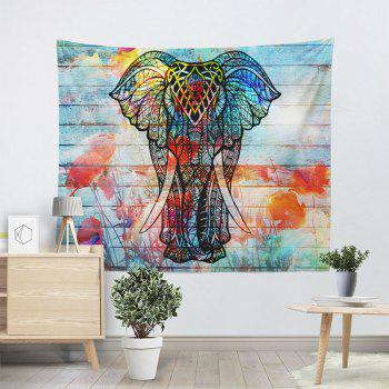 Elephant Print Wall Hanging Wood Grain Tapestry - COLORFUL COLORFUL