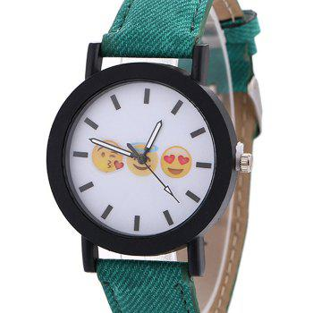 Emoticon Face Faux Leather Strap Watch - GREEN