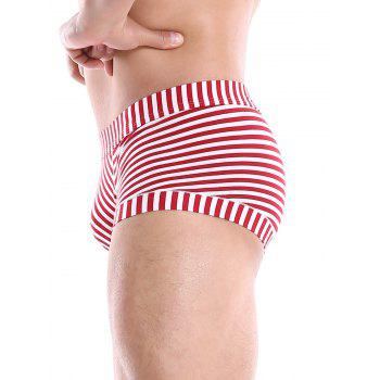 Striped U Contour Pouch Trunks - RED M