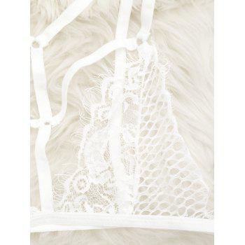 Caged Lace Bralette - WHITE S