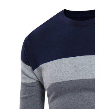 Crew Neck Rib Design Color Block Panel Sweater - CADETBLUE/GRAY XL