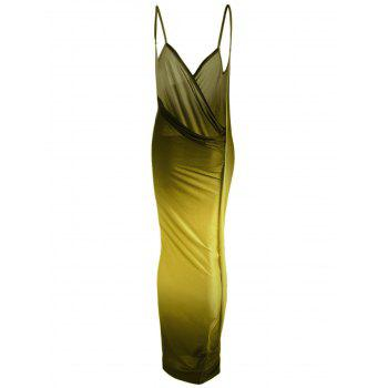 Ombre Plus Size Wrap Cover Up Maxi Dress - YELLOW XL
