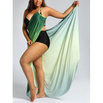 Ombre Plus Size Wrap Cover Up Maxi Dress - GREEN XL