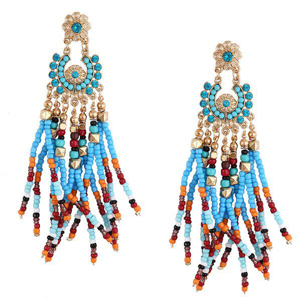 Flower Beaded Tassel Bohemian Earrings - BLUE