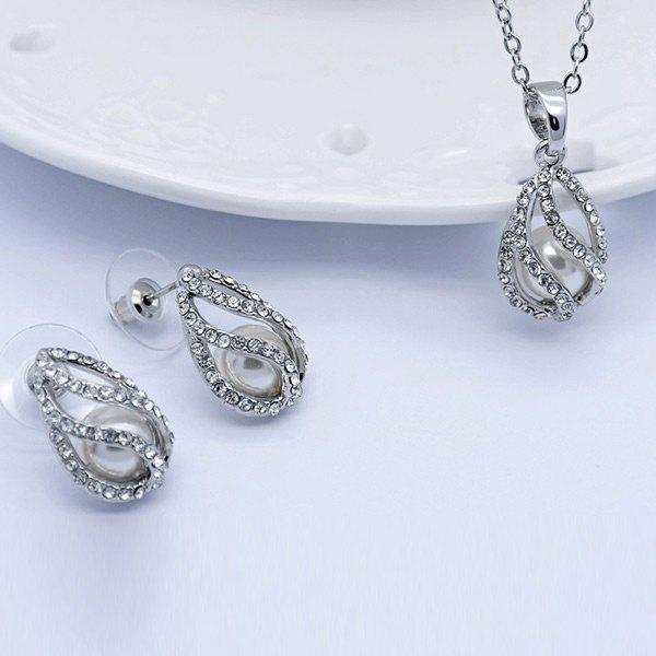 Rhinestoned Faux Pearl Teardrop Jewelry Set - SILVER