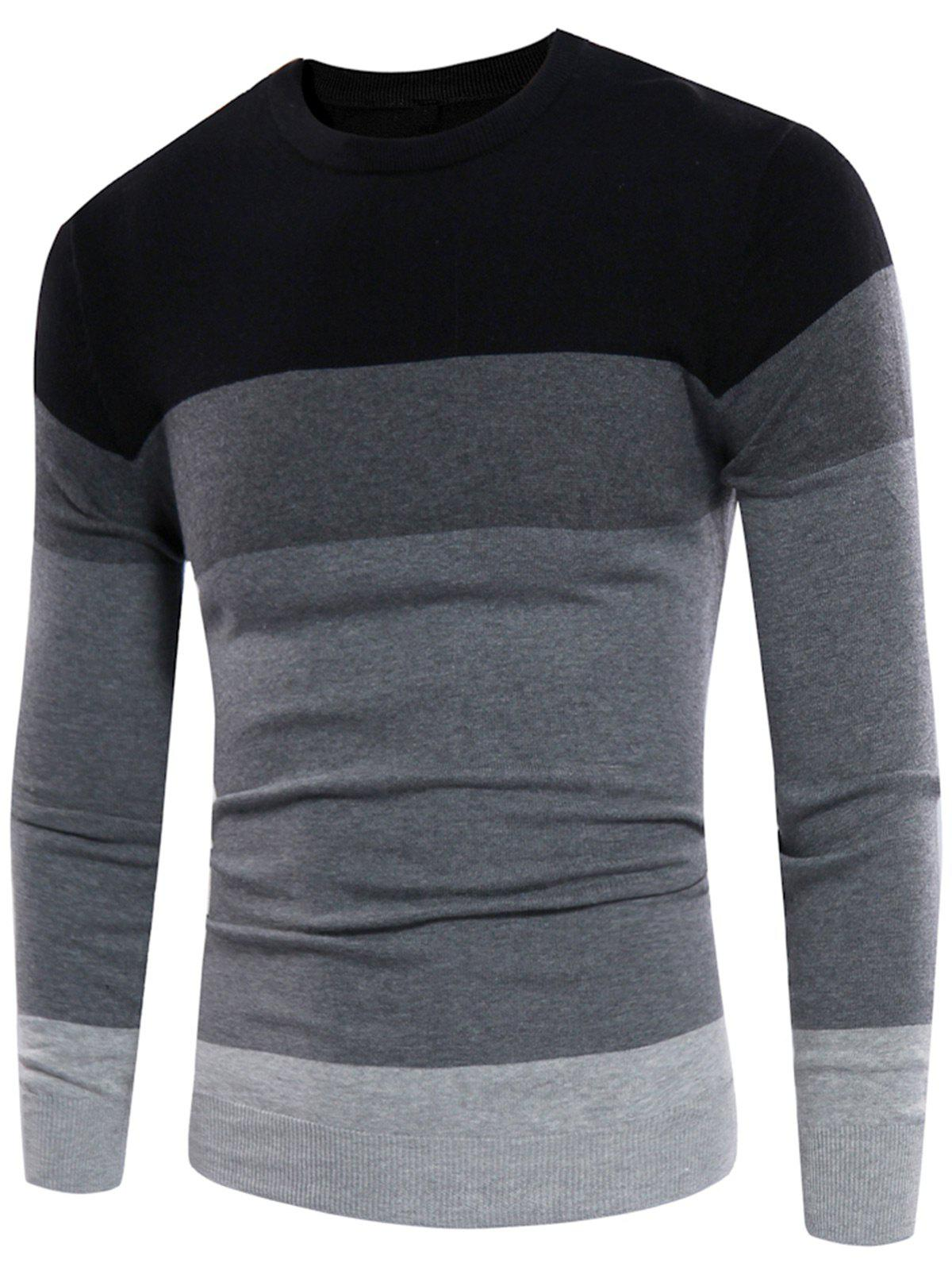 Crew Neck Rib Design Color Block Panel Sweater - BLACK/GREY XL