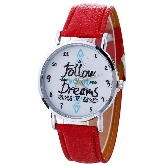 Follow Your Dreams Faux Leather Strap Watch - RED