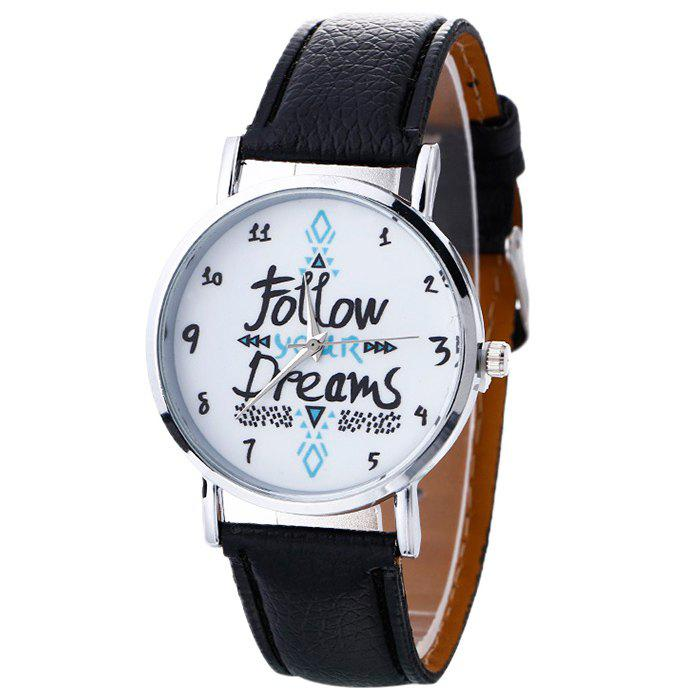 Follow Your Dreams Faux Leather Strap Watch - BLACK