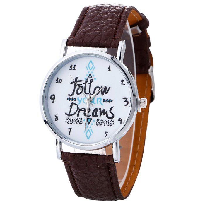 Follow Your Dreams Faux Leather Strap Watch - BROWN