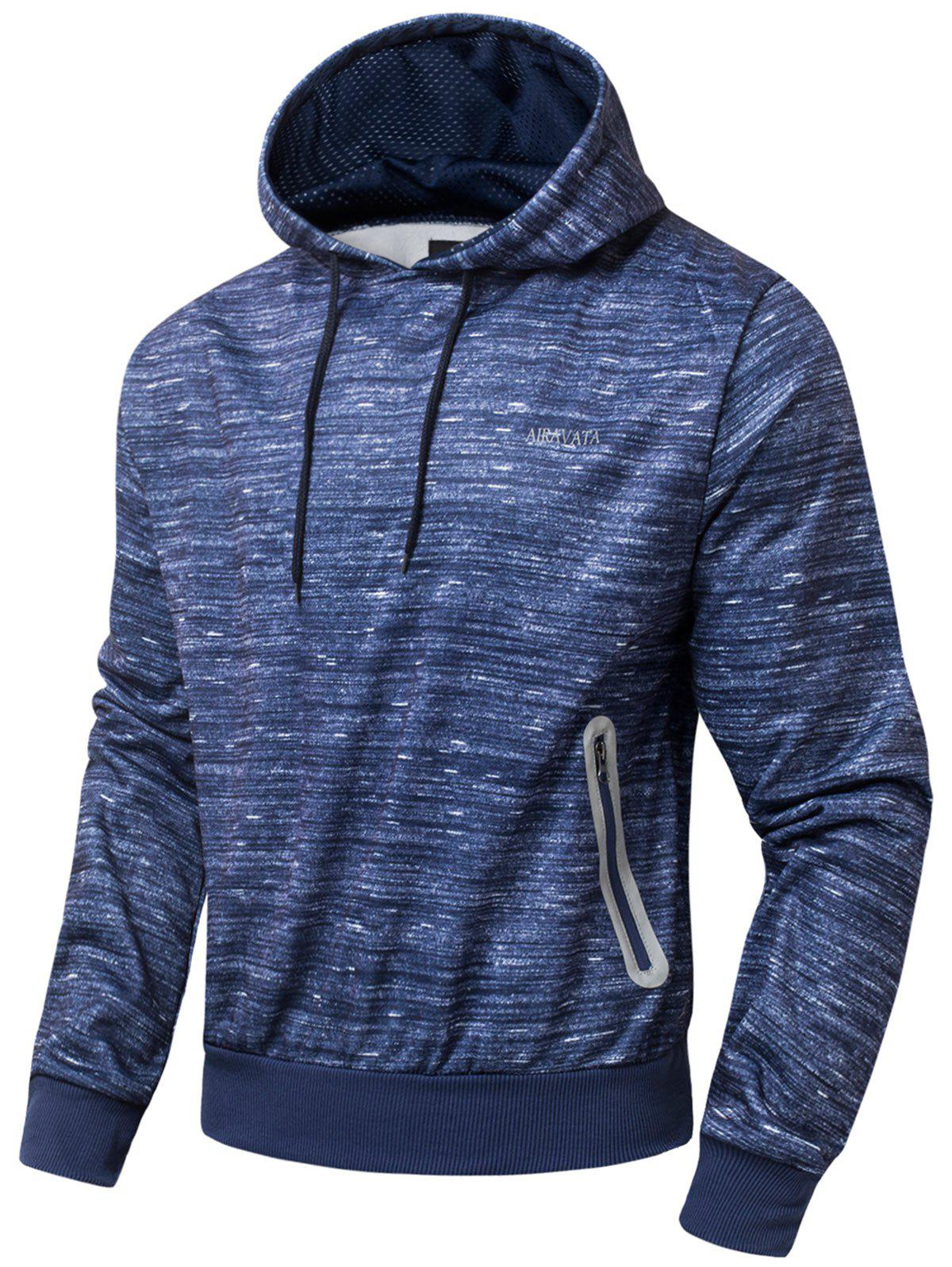 Side Zip Pocket Design Polar Fleece Hoodie - ROYAL M