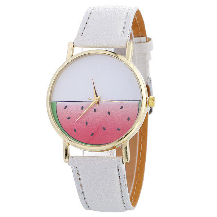 Watermelon Face Faux Leather Watch - WHITE