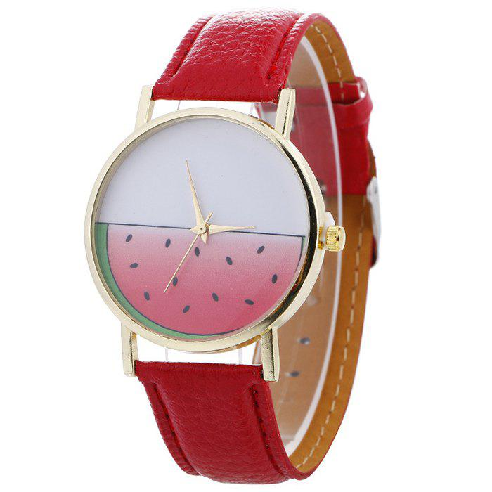 Watermelon Face Faux Leather Watch - RED