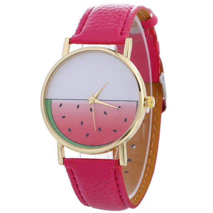 Watermelon Face Faux Leather Watch - TUTTI FRUTTI