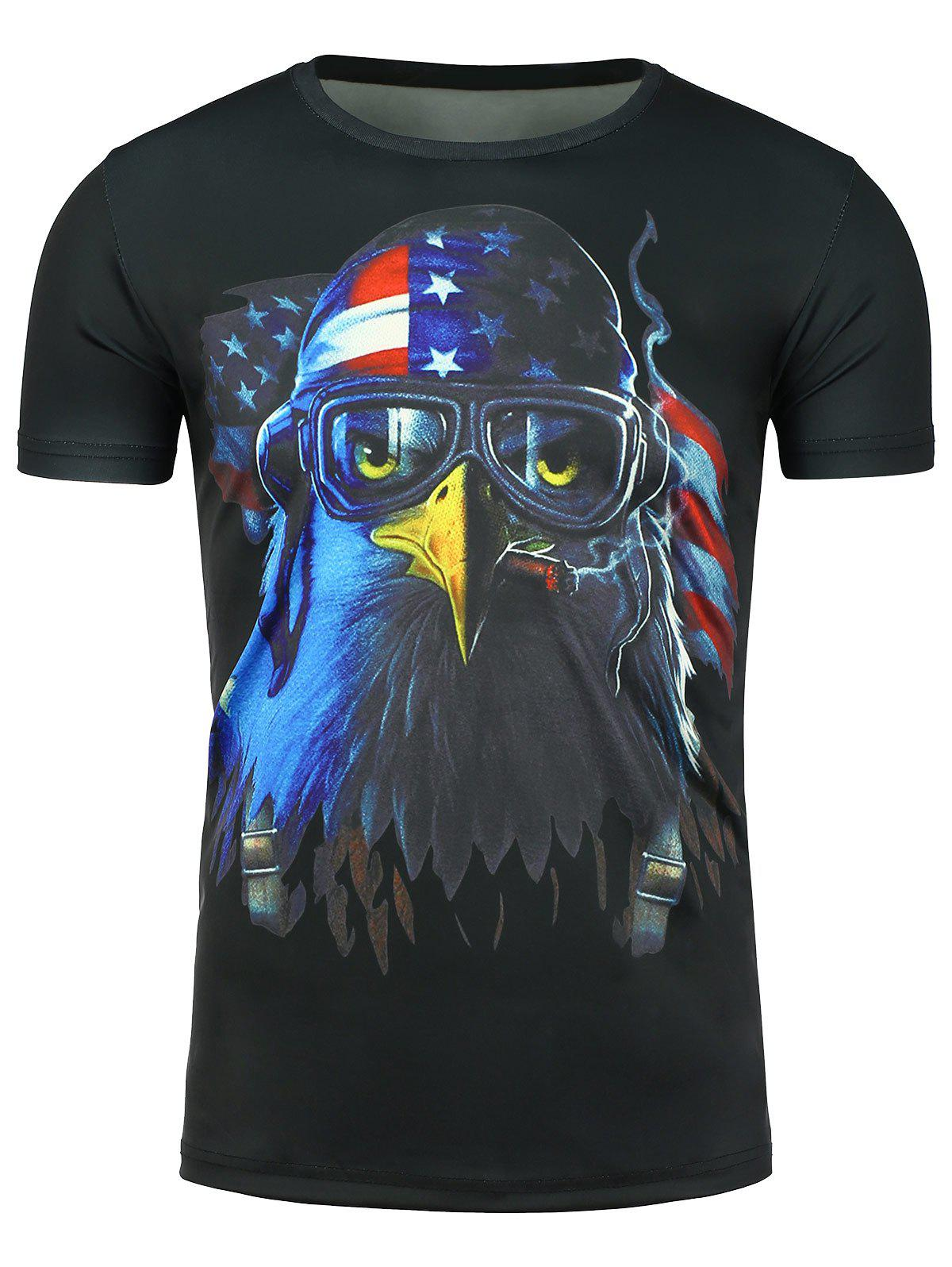 3D Eagle Print Patriotic Short Sleeve T-shirt