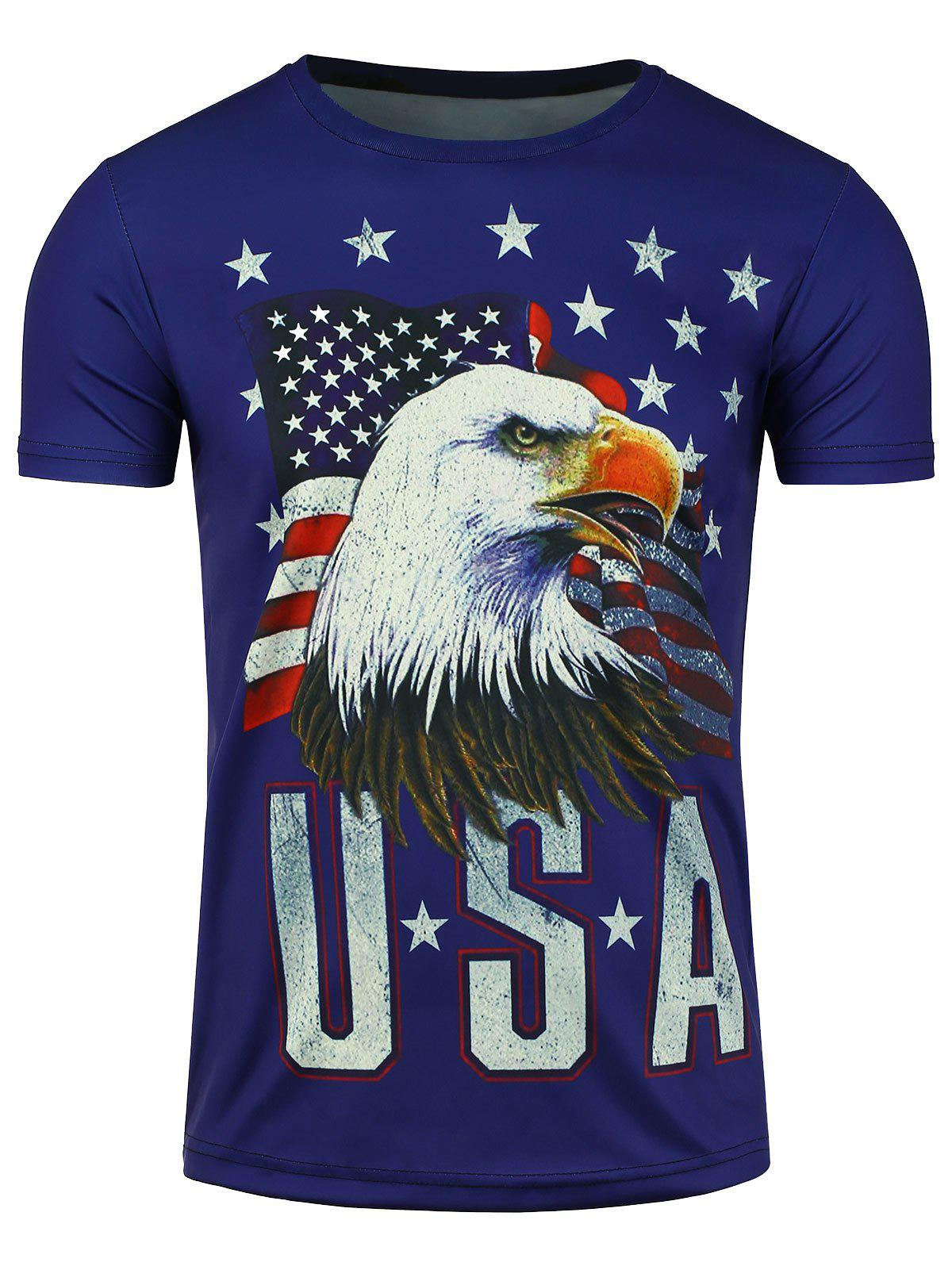 3D Eagle American Flag Print Short Sleeve T-shirt