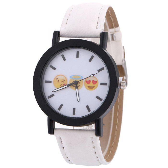 Emoticon Face Faux Leather Strap Watch - WHITE
