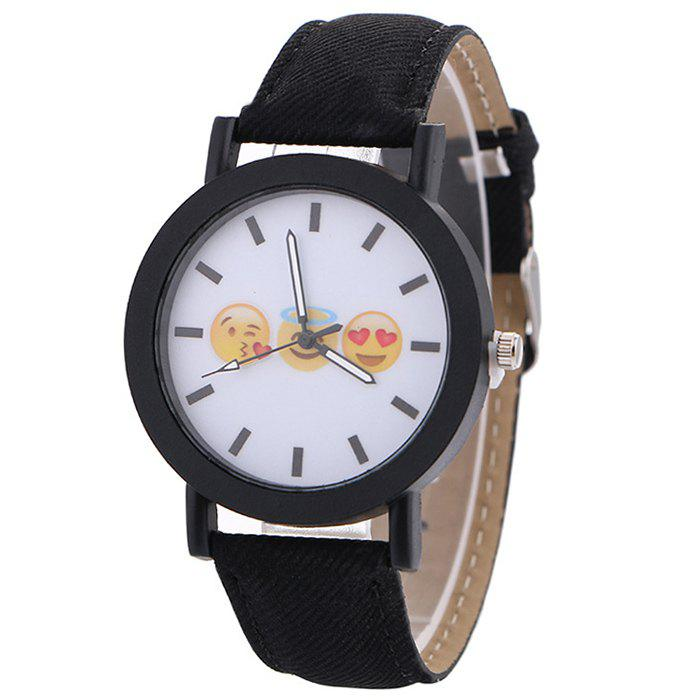 Emoticon Face Faux Leather Strap Watch - BLACK