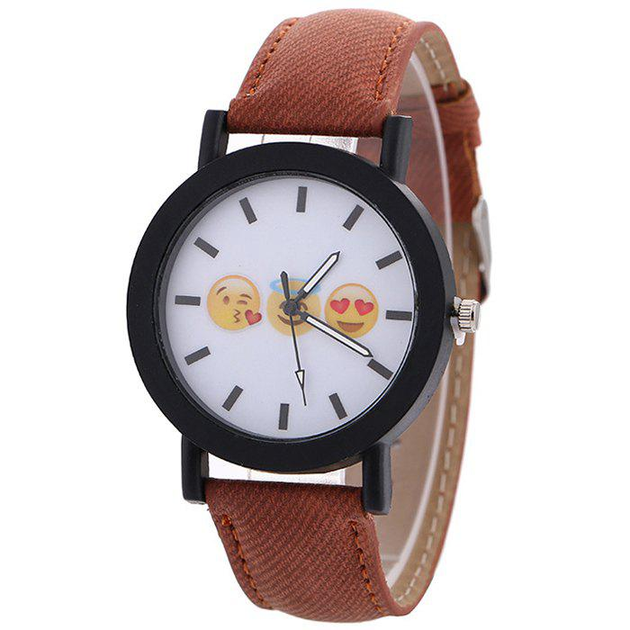 Emoticon Face Faux Leather Strap Watch - BROWN