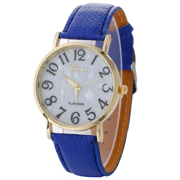 Marble Face Faux Leather Strap Watch - BLUE