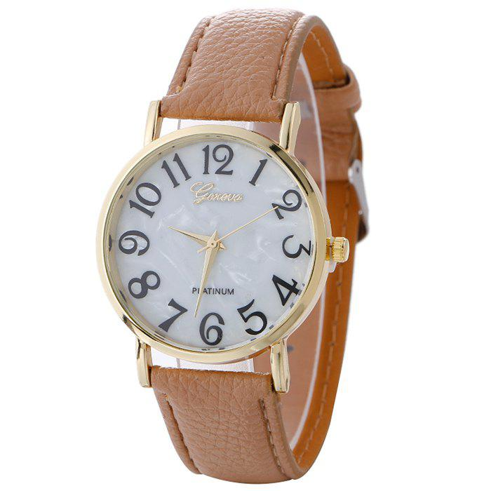 Marble Face Faux Leather Strap Watch - BEIGE