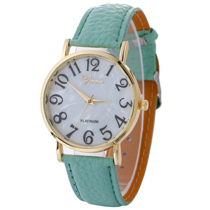 Marble Face Faux Leather Strap Watch faux leather strap world map face watch
