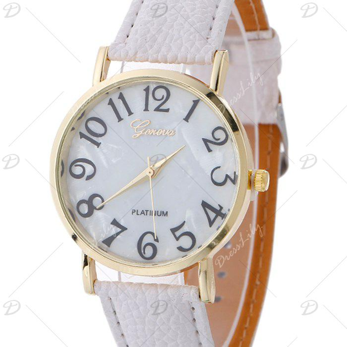 Marble Face Faux Leather Strap Watch - WHITE