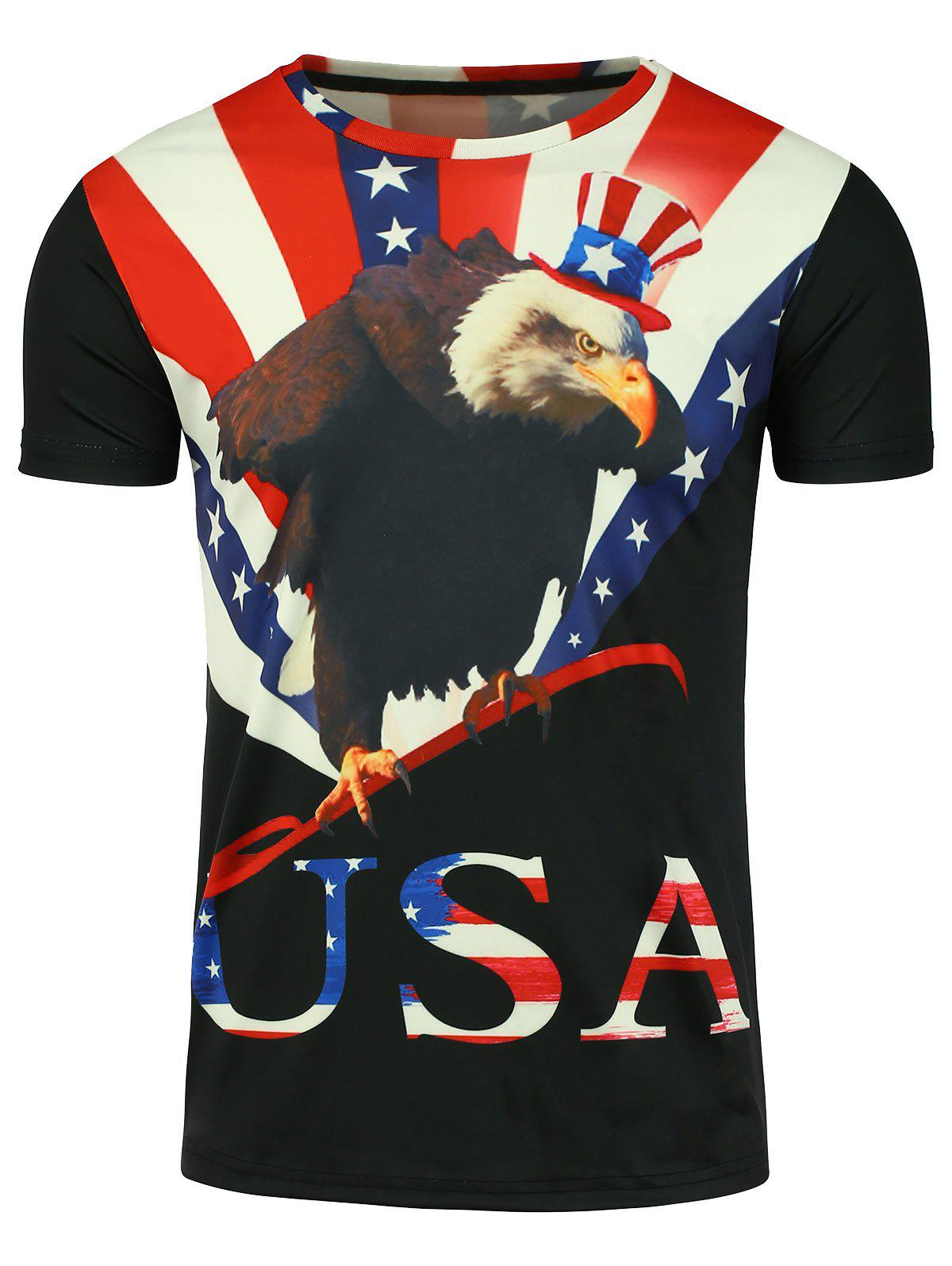3D Eagle Graphic Print Patriotic Short Sleeve T-shirt