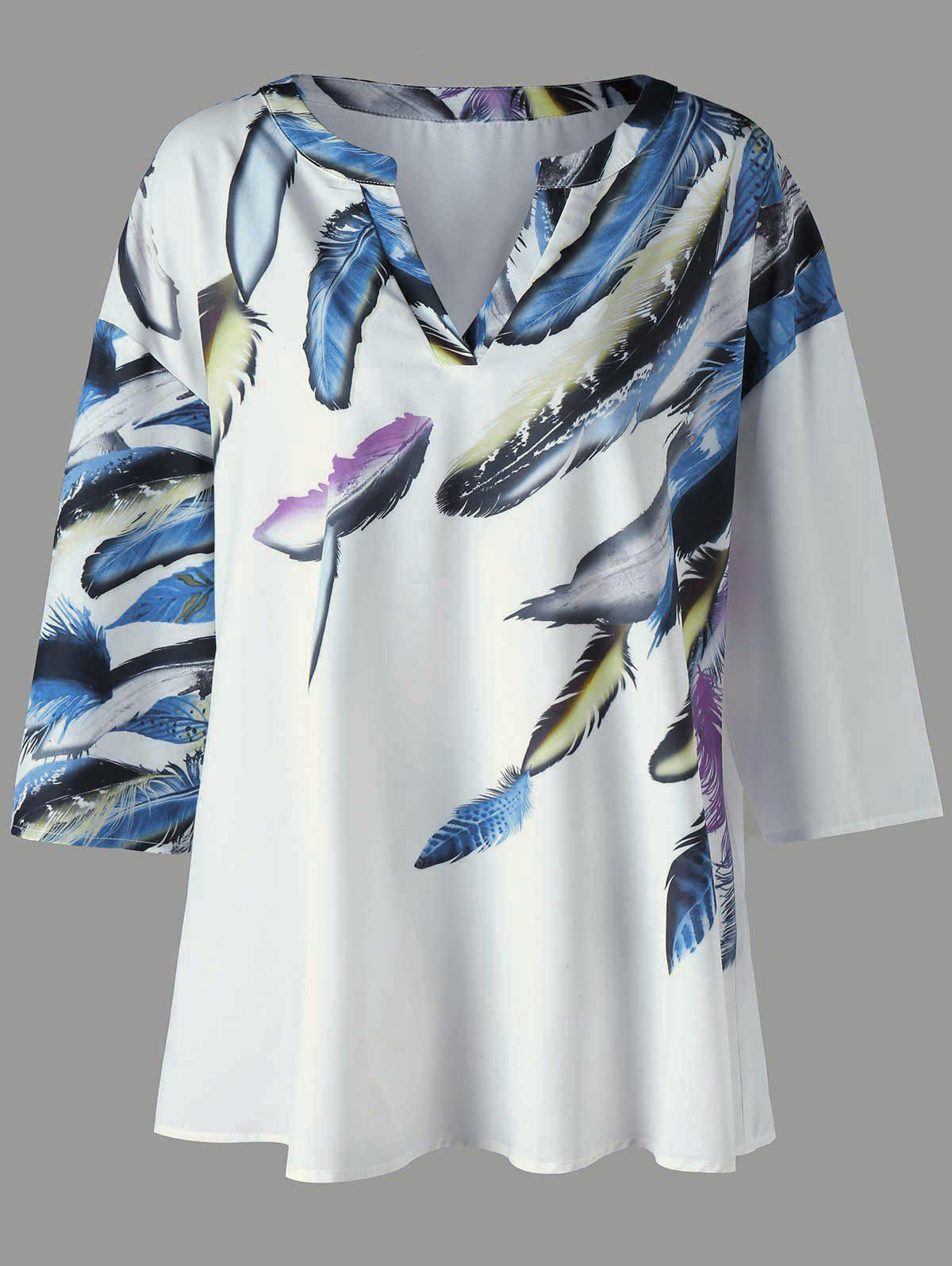 Plus Size Drop Shoulder Feather Print T-Shirt - WHITE 4XL